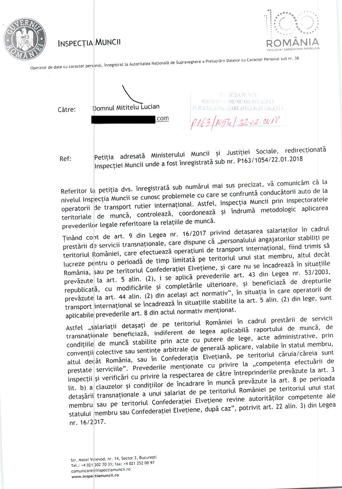 The answer of the Romanian institution enforcing the labour law ( Inspectia Muncii). Page 1