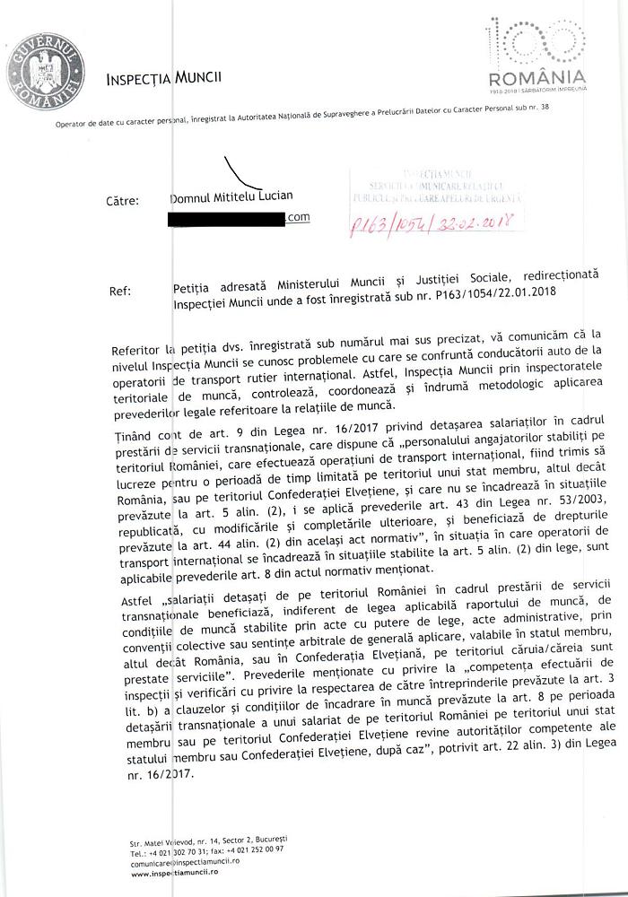 Inspectia muncii answer - Page 1