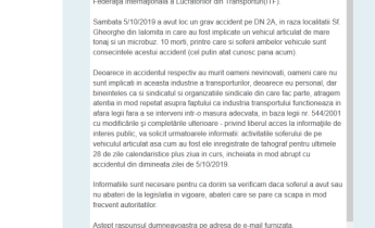 Solicitare informatii de interes public adresata ISCTR referitoare la accidentul din 05/10/2019 soldat cu 10 morti. Descarcari tahograf.